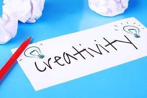 """Paper with """"creativity"""" text and cru"""
