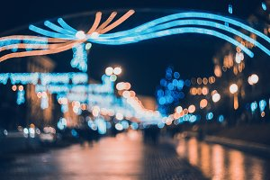 Blurred city with christmas lights