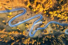 Aerial view of the winding road by  in Transportation