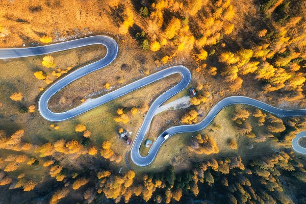 Transportation Stock Photos - Aerial view of the winding road