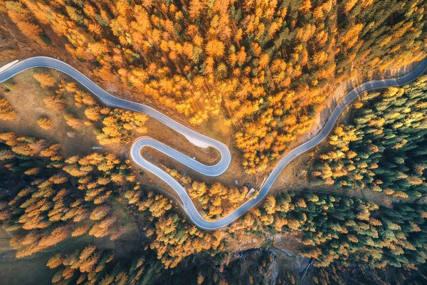 Aerial view of the winding road