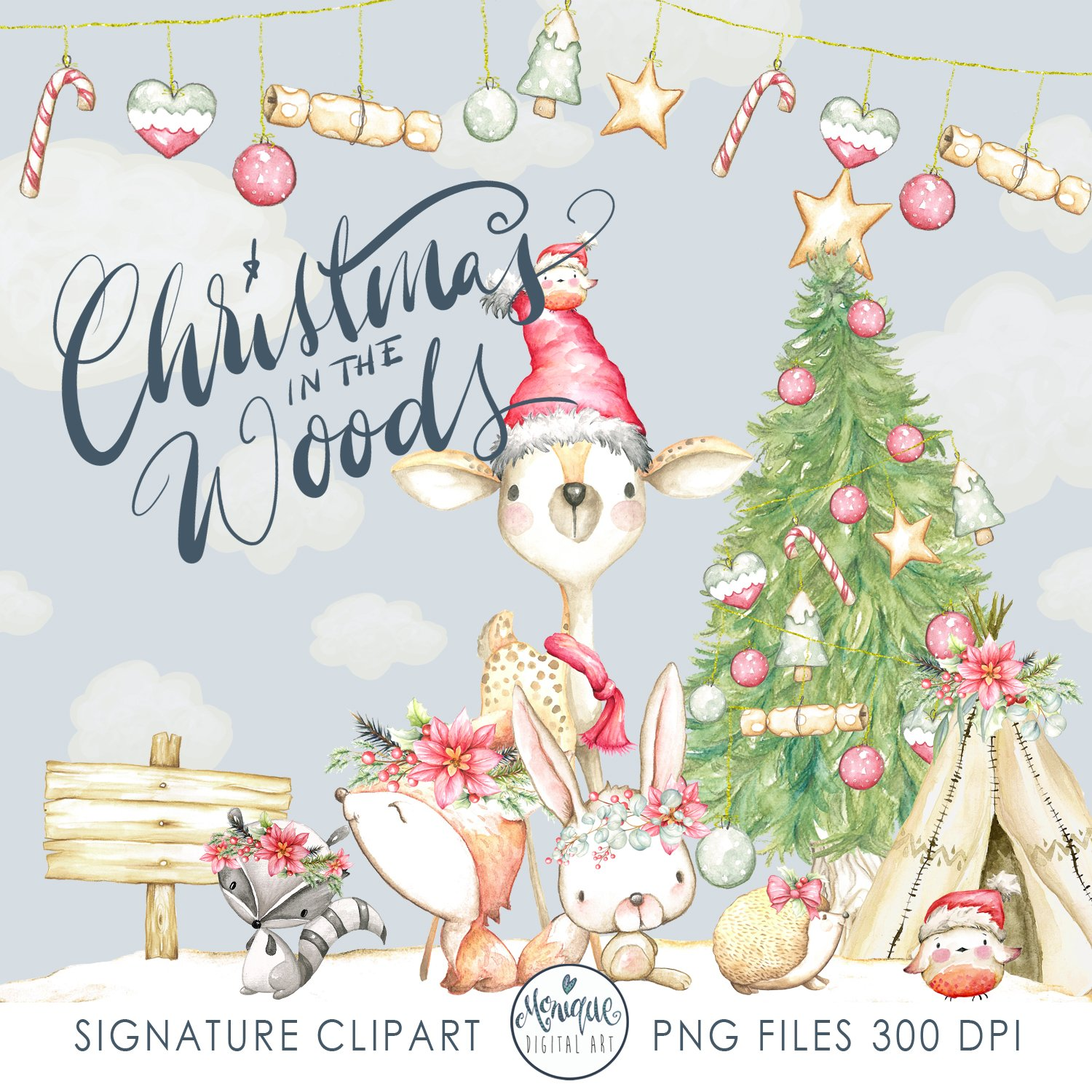 Christmas Woodland Animals Clipart ~ Illustrations ...