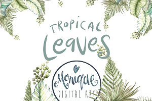 Tropical Leaves Clipart Watercolor