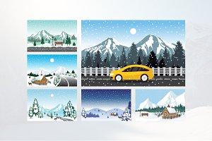 6 Winter Mountain Sky Landscape