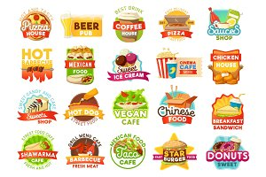 Street food menu icons, vector