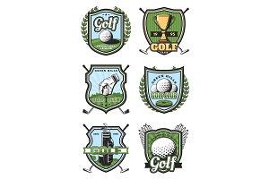 Golf sport heraldic vector icons