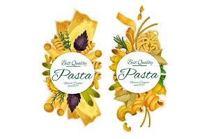 Italian pasta pund banners, vector
