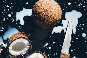 top view of coconuts, knife and coco