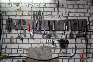 Workspace of blacksmith. Some tools