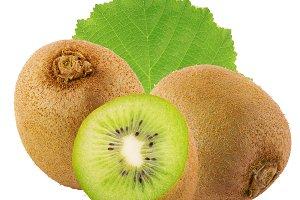 Ripe whole kiwi fruit isolated on