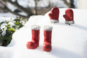 Christmas boots and gloves