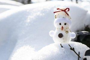 Little snowman on snow