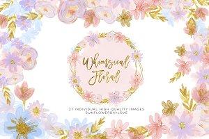 Pastel Floral Clipart Watercolor