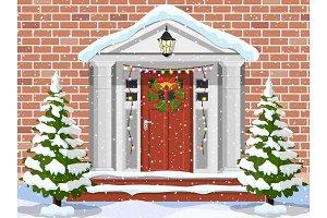 Entrance to the suburban house
