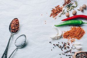 top view of spices and vegetables on
