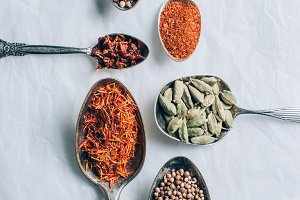 top view of indian spices in spoons