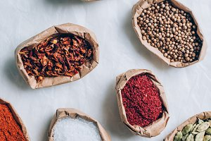 top view of colorful indian spices i