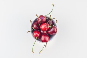Fresh ripe cherry in a bowl