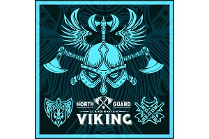 T-shirt print with viking emblems in