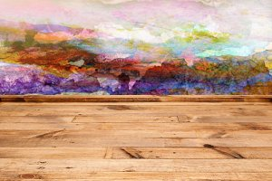 Wooden table with empty background