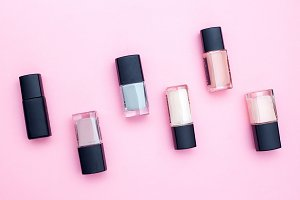 Beauty product on pink background.