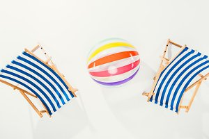 top view of striped beach chairs and