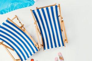 top view of beach umbrella, striped