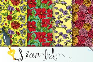 Seamless patterns with flowers