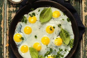 Pan of fried eggs, top view