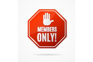 Members Only Stop Red Sign. Vector