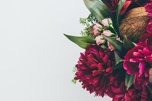 top view of floristry bouquet with p