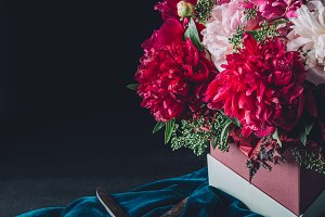 floristry bouquet of beautiful pink