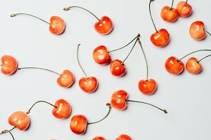 top view of fresh ripe sweet cherrie