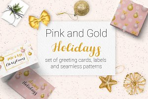 Christmas. Gold&Pink