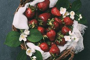 top view of fresh ripe strawberries