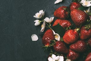 top view of ripe red strawberries an