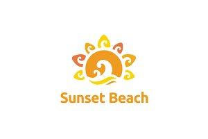 Beauty Sunset Beach logo design