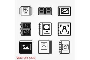 Photo album vector icon on white