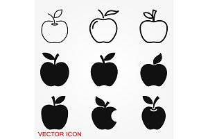 Apple Icon in trendy flat style