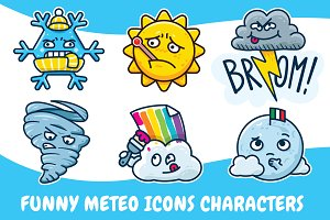 Funny Cartoon Meteo Icons Characters