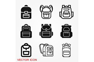 Backpack solid icon. Luggage symbol