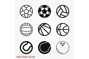 Sport ball icon. Flat vector