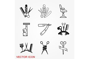 Barber icon vector, for web and