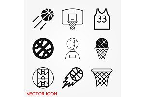 Basketball icon vector in trendy