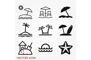 Beach icon vector of vacation and