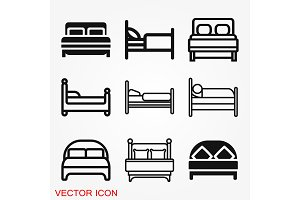 Bed icon vector, flat symbol on
