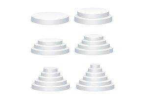 White Blank Round Podium Template