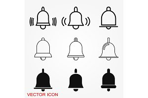 Bell Icon vector in trendy flat