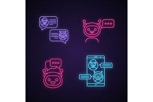 Chatbots neon light icons set.