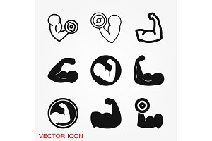 Biceps icon, muscle strength or